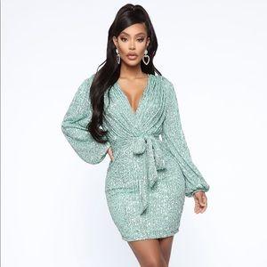Fashion Nova Mint Sequin Dress
